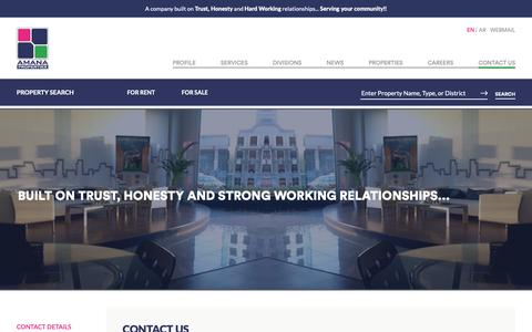 Screenshot of Contact Page amana-properties.com - Amana Properties - Contact Us | Dammam, Saudi Arabia - Realestate For Sale, Rent, or Lease - captured Oct. 3, 2018