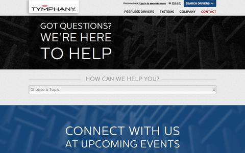 Screenshot of Contact Page tymphany.com - Contact                 Tymphany - captured July 13, 2018