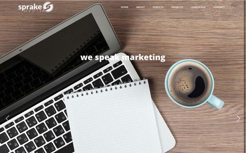 Screenshot of Home Page sprakemedia.com - Home | Sprake Media - captured Oct. 7, 2014