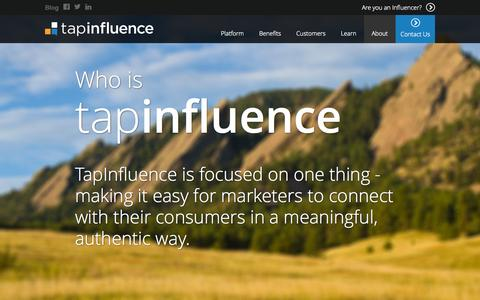 Screenshot of About Page tapinfluence.com - About - TapInfluence - captured Sept. 12, 2014