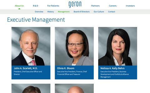 Screenshot of Team Page geron.com - Executive Management of Geron - captured Nov. 3, 2018