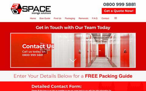 Screenshot of Contact Page 3dspacestorage.co.uk - Contact Our Secure Storage Facilities In SW1 | 3D Space Storage - captured Oct. 20, 2018