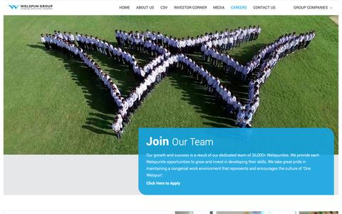 Screenshot of Jobs Page welspun.com - Careers – Join Our Team – Welspun Group - captured May 24, 2019