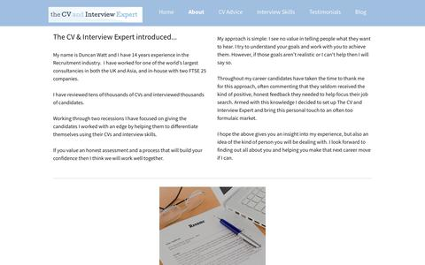Screenshot of About Page thecvandinterviewexpert.co.uk - CV and Interview Skills - captured Oct. 18, 2018