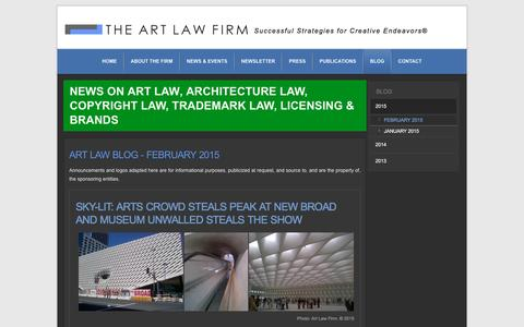 Screenshot of Blog artlawfirm.com - The Art Law Firm - Art, Architecture, Copyright, Intellectual Property, International Attorney in Los Angeles - February 2015 - captured Jan. 5, 2017