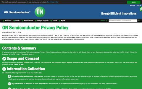 Screenshot of Privacy Page onsemi.com - Privacy Policy - captured May 16, 2018