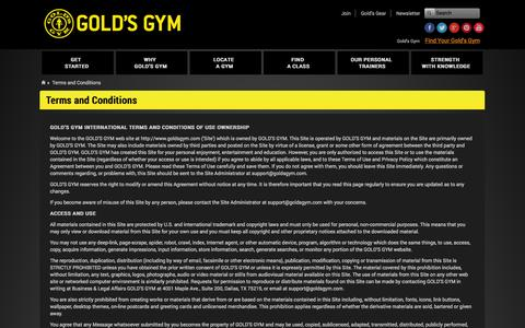 Screenshot of Terms Page goldsgym.com - Gold's Gym | Terms And Conditions | Fitness Gym - captured Sept. 22, 2014