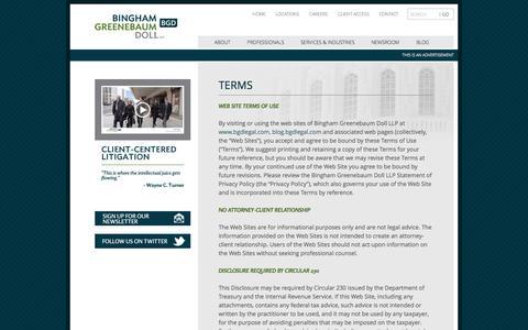 Screenshot of Terms Page bgdlegal.com - Terms   Bingham Greenebaum Doll LLP - captured Oct. 1, 2014