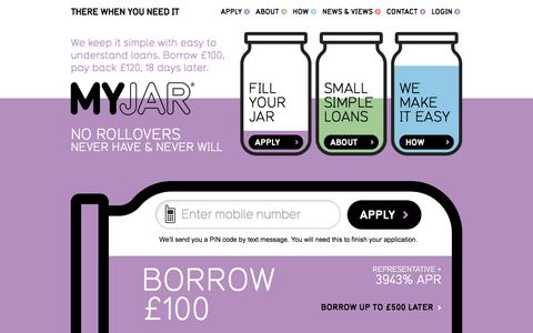 Screenshot of Home Page myjar.com - Small Simple Loans of £100 to £500 | MYJAR - (TXTLoan) - captured Sept. 23, 2014