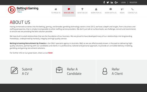 Screenshot of About Page bgrecruitment.com - About Us | Betting Gaming Recruitment - captured Nov. 22, 2016