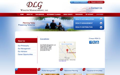 Screenshot of Contact Page Locations Page dlgwealthmanagement.com - Locations - captured Oct. 23, 2014