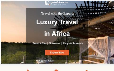 Screenshot of Landing Page go2africa.com - Luxury African Safari Vacations & Tours | Go2Africa.com - captured March 31, 2018