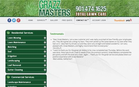 Screenshot of Testimonials Page grazzmasters.com - Testimonials - Grazz Masters - captured Feb. 1, 2016