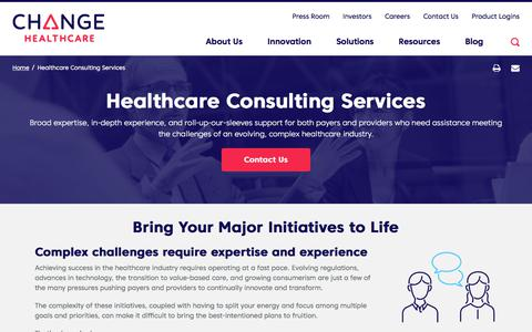Screenshot of Services Page changehealthcare.com - Healthcare Consulting Services | Change Healthcare - captured Feb. 20, 2020