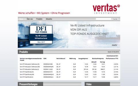 Screenshot of Home Page veritas-investment.de - Veritas Investment | Werte schaffen • Mit System • Ohne Prognosen - Veritas Investment - captured April 29, 2018