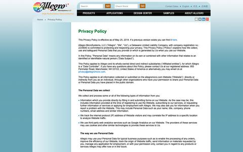 Screenshot of Privacy Page allegromicro.com - Allegro MicroSystems - Privacy Policy - captured Oct. 3, 2018