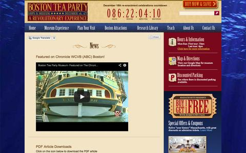 Screenshot of Press Page bostonteapartyship.com - News | Boston Tea Party Ships and Museum - captured Sept. 22, 2014