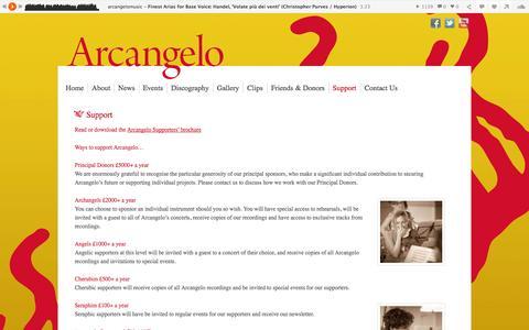 Screenshot of Support Page arcangelo.org.uk - Support | Arcangelo - captured Oct. 1, 2014