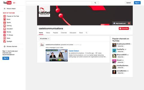 Screenshot of YouTube Page youtube.com - castelcommunications  - YouTube - captured Oct. 22, 2014