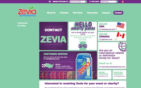 Screenshot of Contact Page zevia.com - Contact Zevia: Customer Service, Sales, Press and Supplier Inquiries, Social Media | Zevia Zero Calorie Soda - captured Sept. 17, 2014