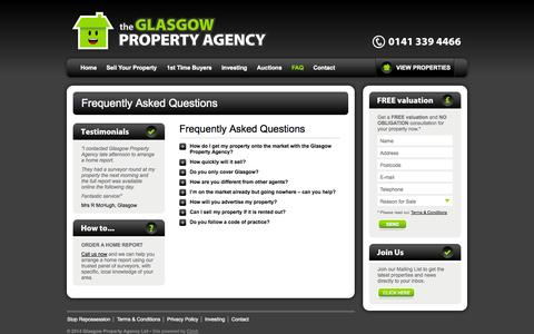 Screenshot of FAQ Page glasgowpropertyagency.com - Estate Agency Glasgow   Sell House Fast   Quick Property Sale   Glasgow Property Agency - captured Sept. 30, 2014