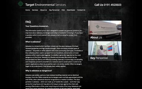 Screenshot of FAQ Page targetenvironmentalservices.co.uk - Target Environmental Services » FAQ - captured Oct. 7, 2014