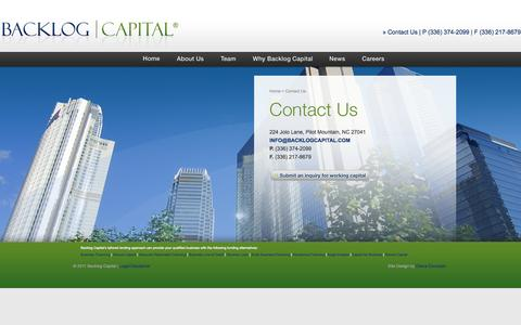 Screenshot of Contact Page backlogcapital.com - Backlog Capital | Contact Us - captured Oct. 5, 2014