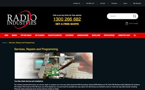 Screenshot of Services Page radioindustries.com.au - Services Repairs and Programming - captured Oct. 19, 2018