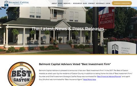Screenshot of Press Page belmont-capital.com - Belmont Capital Advisors News & Press Releases - captured Oct. 10, 2017