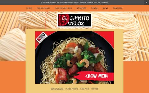 Screenshot of Menu Page elchinitoveloz.com - Menú — El Chinito Veloz - captured March 25, 2017
