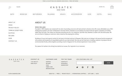 Screenshot of About Page kassatex.com - About Us | Kassatex New York - captured Sept. 22, 2018