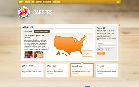 Screenshot of Locations Page bkcareers.com - BURGER KING® – Careers - Locations - captured Sept. 24, 2014