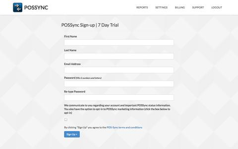 Screenshot of Signup Page pos-sync.com - POSSync - Simple Inventory Synchronization - captured Oct. 1, 2014