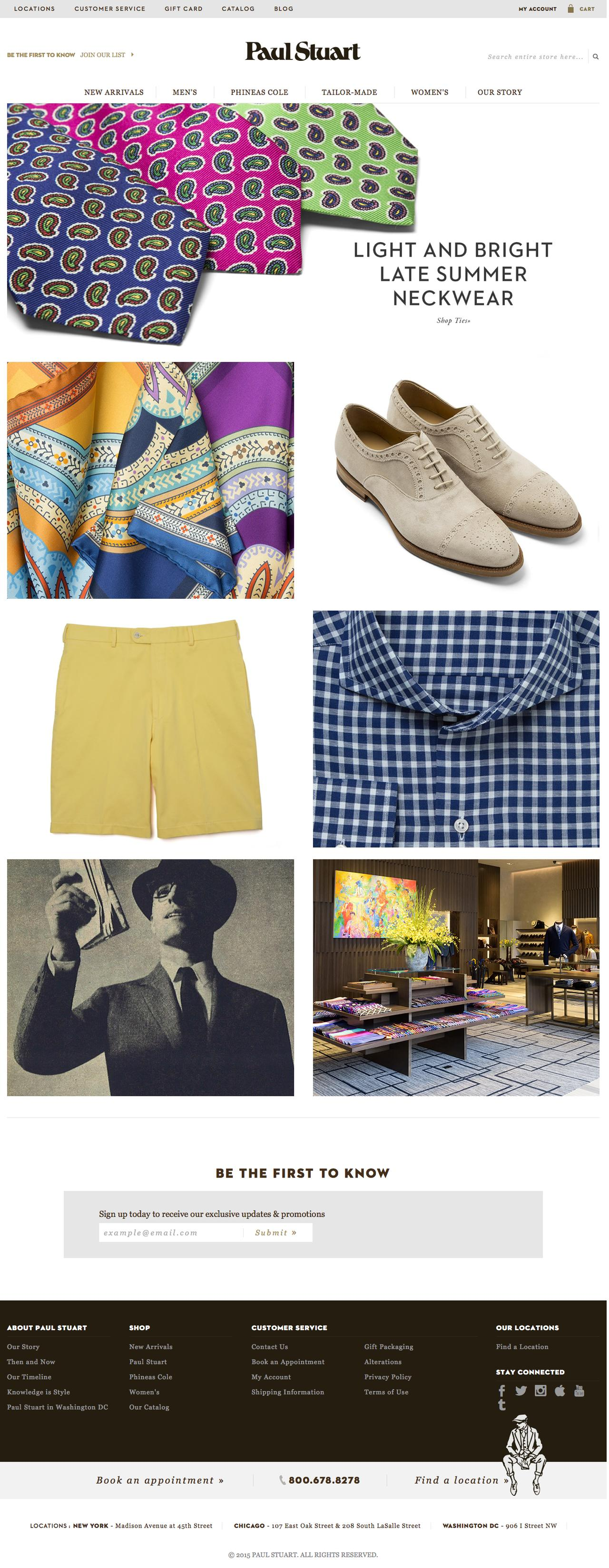 Screenshot of paulstuart.com - Paul Stuart - Fine Men's & Women's clothing - captured July 27, 2015