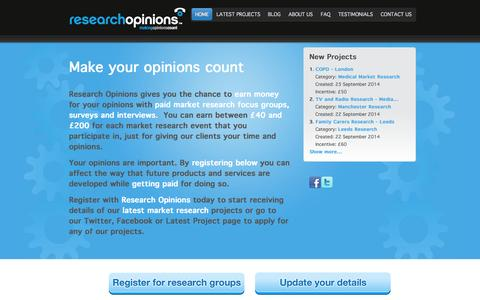 Screenshot of Home Page researchopinions.co.uk - Market Research UK | Research Opinions - captured Sept. 25, 2014