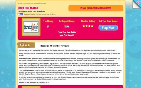 Screenshot of ohmybingo.com - Scratch Mania | £7 FREE at ScratchMania.com | 100% bonus - captured March 19, 2016