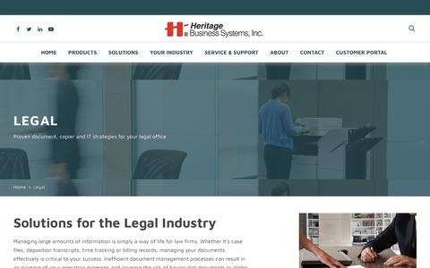 Screenshot of Terms Page heritagebusiness.com - Legal - Heritage Business Systems - captured Sept. 28, 2018