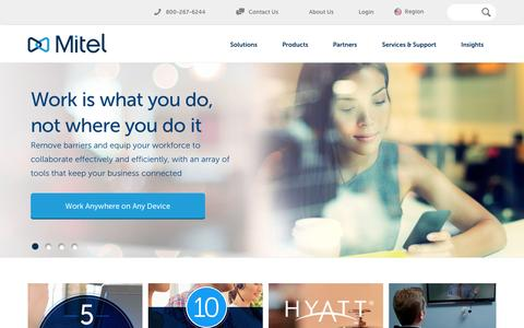 Screenshot of Home Page mitel.com - Business Communications and Collaboration | Mitel - captured Aug. 4, 2015