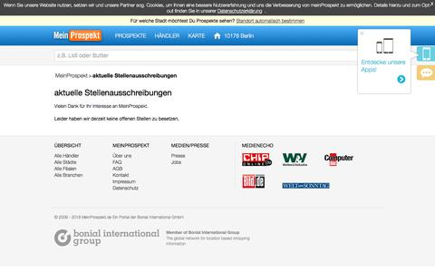 Screenshot of Jobs Page meinprospekt.de - Jobs bei MeinProspekt - captured Sept. 22, 2018