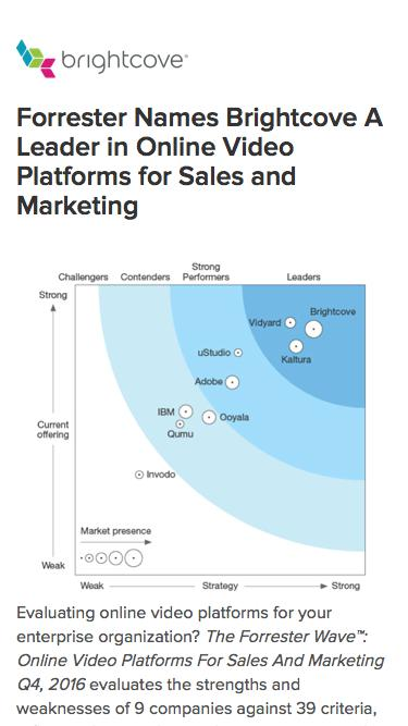 Brightcove | Forrester Names Brightcove A Leader in Online Video Platforms for Sales and Marketing
