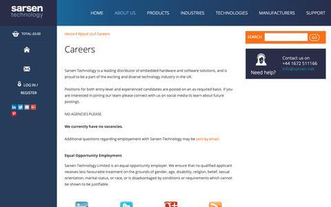 Screenshot of Jobs Page sarsen.net - Careers - Sarsen Technology - captured Sept. 27, 2018