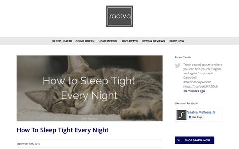 Screenshot of Blog saatvamattress.com - Saatva's Sleep Blog - Your Guide to the Best Night's Sleep - captured Sept. 14, 2016