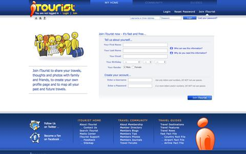Screenshot of Signup Page itourist.com - Join iTourist | iTourist.com - captured June 4, 2016