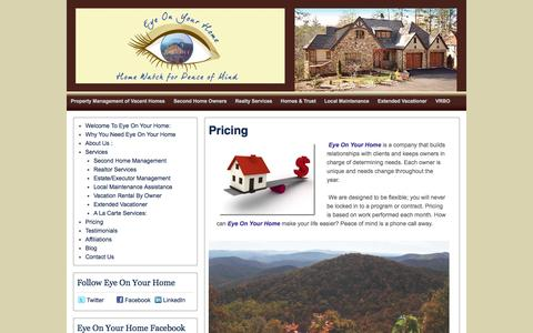 Screenshot of Pricing Page eyeonyourhome.net - Pricing |  | Eye On Your Home .Net  Pricing - Eye On Your Home .NetEye On Your Home .Net - captured Sept. 30, 2014