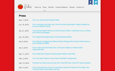 Screenshot of Press Page fuhu.com - Fuhu - Press - captured Aug. 24, 2016
