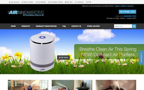 Screenshot of Home Page air-innovations.com - Air Innovations Shop Humidifier, Purifier & Fans - captured April 11, 2016