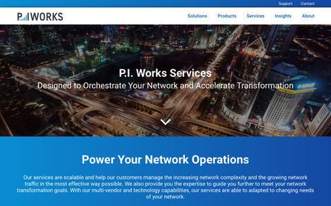 Screenshot of Services Page piworks.net - P.I. Works - Services - captured Sept. 25, 2018