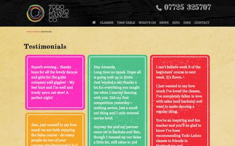 Screenshot of Testimonials Page todo-latino.co.uk - Testimonials | Todo Latino Dance Co. - captured Oct. 7, 2014