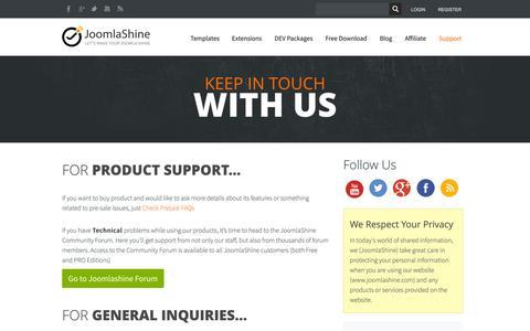 Screenshot of Contact Page Support Page joomlashine.com - Contact Us   Joomlashine - captured Oct. 23, 2014