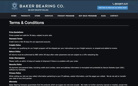 Screenshot of Terms Page bakerbearing.com - Baker Bearing - captured Oct. 5, 2018